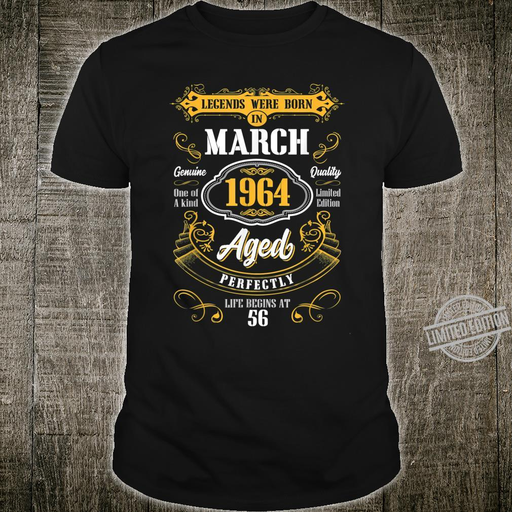 Legends Were Born In March 1964 56th Birthday Shirt